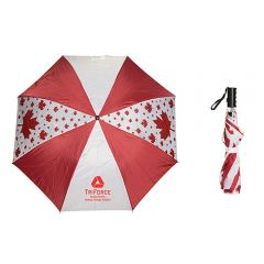 An open eight panelled red and white umbrella in the Canadian flag colours with maple leaves on it and a red logo beside the same umbrella in the folded position