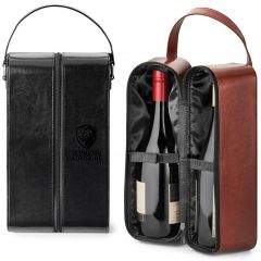 Two dual wine carrying cases. One is black and zipped closed with a debossed logo. The other is brown and open to show the wine stored inside