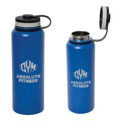 two images of 1200mL royal blue bottle with grey logos on each one with the lid open and one with the lid closed