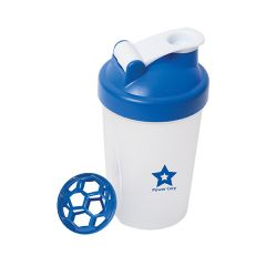 400mL clear shaker bottle with royal blue lid and logo and royal blue shaker part beside it