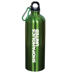 750mL metallic lime green stainless steel water bottle with matching coloured carabiner clip and a white logo