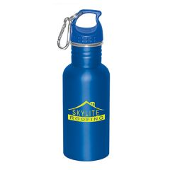 500mL royal blue matte stainless steel water bottle with royal blue lid a silver carabiner and a yellow logo