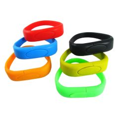 six different coloured USB silicone wristbands