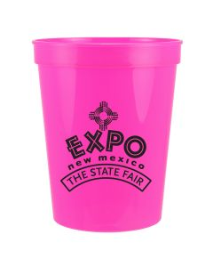 neon pink 16oz plastic stadium cup with black logo
