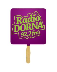 A square shaped sandwich fan with a glued wooden handle and a purple square paddle with green text on it
