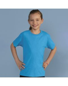 A sapphire coloured cotton and polyester round neck T-Shirt being worn by a girl with a pony tail and her hands on her hips