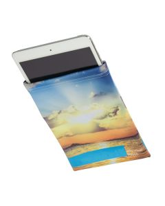 a full colour microfibre mini tablet sleeve with a tablet slightly sticking out of it