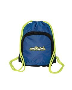 royal blue drawstring backpack with lime green drawstrings and lime green and white logo