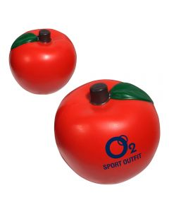 Two red coloured apple shaped stress relievers with the one at the front showing a blue logo on the side and the one at the back showing the reverse side unprinted