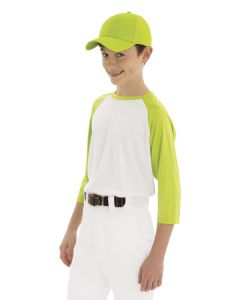 A child wearing a lime green and white baseball t-shirt, white pants and a lime green twill youth cap